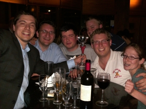 pub quiz winners looking happy